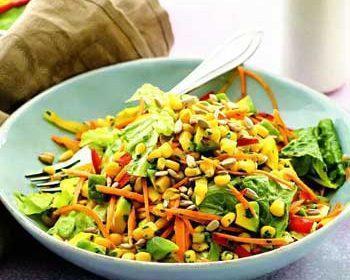 Овощной салат апельсиновой заправкой