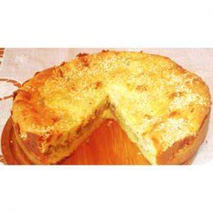 Заливной пирог с картофелем и горбушей