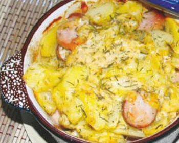 Картофель с сосисками