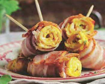 Мини-омлеты с беконом и горчицей