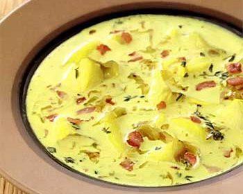 Суп из трески с картофелем и беконом
