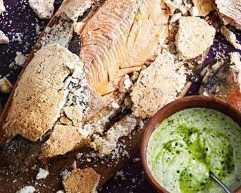 Карельская форель в розмариновой соли с соусом из мацони