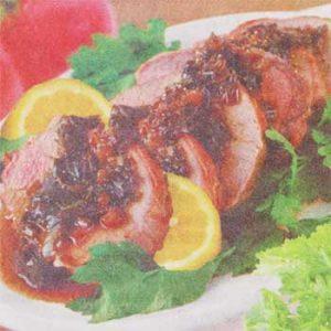 Свиная корейка в овощном соусе