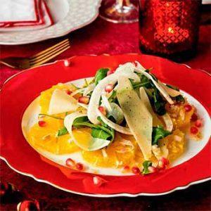 Новогодний апельсиновый салат с руколой и фенхелем
