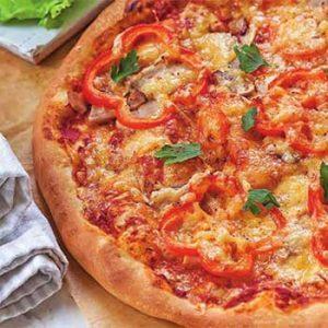 Пицца на кефире с перцем и колбасой