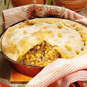 Мясной пирог с кукурузой