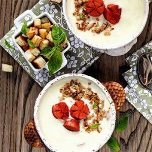 Суп из молодой цветной капусты с сосисками