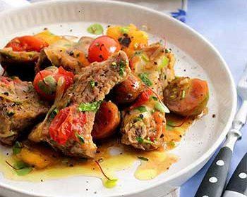Рагу со сладким перцем и тремя сортами помидоров