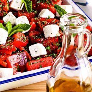 Арбузный салат с сыром,помидорами и мятой