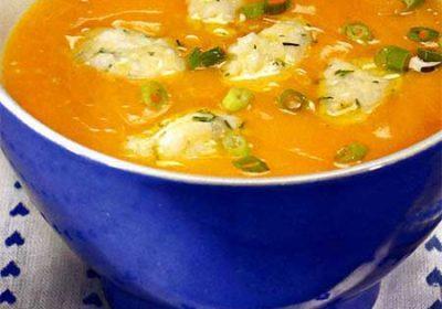 Тыквенный суп с рисовыми клецками