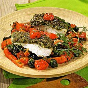 Рыба с чермулой и овощами