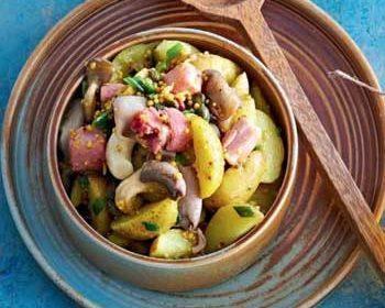 Картофельный салат с грудинкой и вешенками