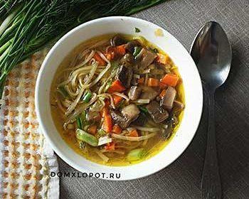 Суп из шампиньонов с пастой